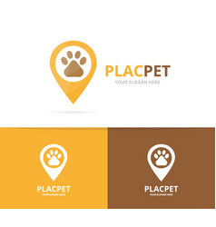 paw and map pointer logo combination pet vector image