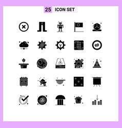 Pictograph set 25 simple solid glyphs vector
