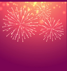 Pink background with celebration fireworks vector