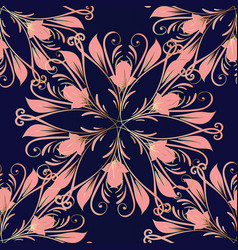 pink flowers seamless pattern mandala style vector image