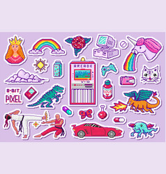 pixel art 8 bit objects retro digital game assets vector image