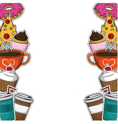 pizza and food frame vector image