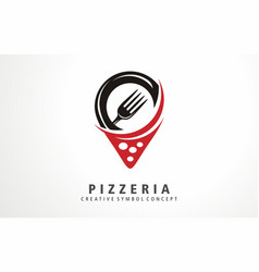 pizza pizzeria map location logo vector image