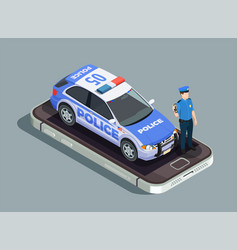 Police isometric concept vector