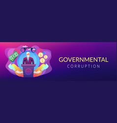 Political corruption concept banner header vector
