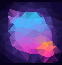 Polygon square background neon blue purple pink vector