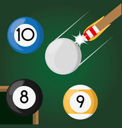 Pool billiard hobby play game vector