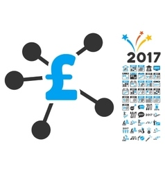 Pound distribution icon with 2017 year bonus vector