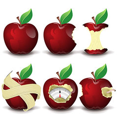 Red apples collection vector