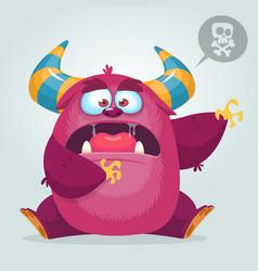 Scared cartoon pink monster waving vector