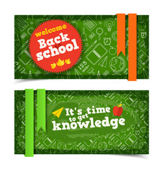 school horizontal banners vector image