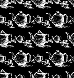 seamless pattern drawing of teapot vector image