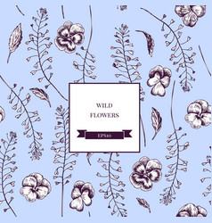 seamless pattern of wild flowers hand vector image
