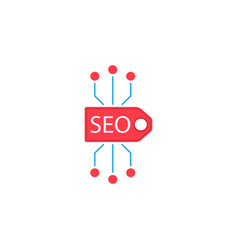 Seo tag flat icon vector