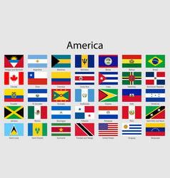 set flags american countries all america flag vector image