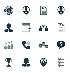 Set of 16 management icons includes money vector