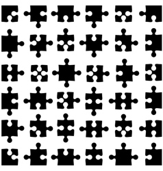 Set of black jigsaw puzzles vector image