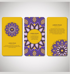 set of ornamental cards flyers with mandala vector image
