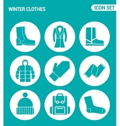set of round icons white Winter clothes shoes vector image