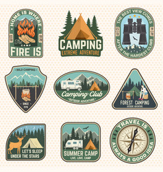 set summer camp badges concept for vector image