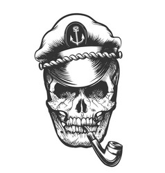 skull in captain cap vector image