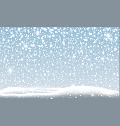 snow falling in winter christmas background vector image