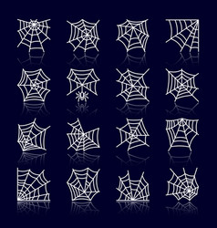 spider web white line with reflection icon set vector image