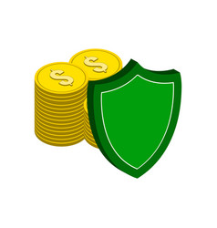 stack of gold coins with shield finance vector image