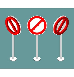 Stop sign isometry Prohibition road sign vector