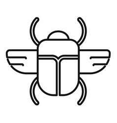 Sun scarab beetle icon outline style vector