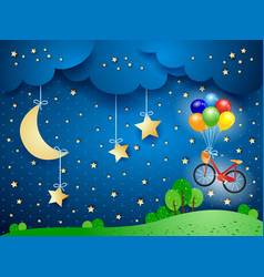 Surreal landscape with hanging moon and bicycle vector