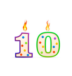 ten years anniversary 10 number shaped birthday vector image