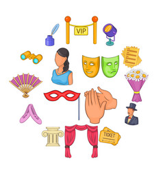 Theatre icons set cartoon style vector