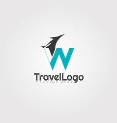 Travel agent logo design with initials w letter vector