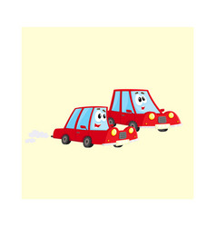 Two red car characters racing hurrying somewhere vector