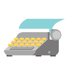 typewriter with paper sheet vector image