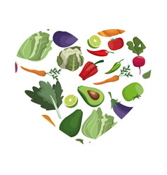 Vegetables heart shape healthy symbol vector