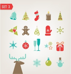 Vintage Christmas icons vector image