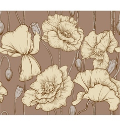 Vintage seamless pattern of pastel color poppies vector image