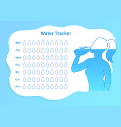 water tracker template with female silhouette vector image
