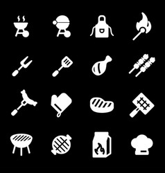 white barbecue icons set vector image