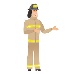 young caucasian happy firefighter gesturing vector image