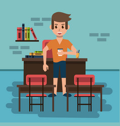 young man in classroom vector image