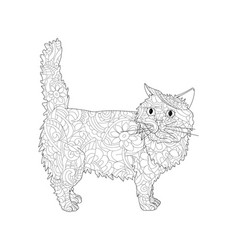 anti stress coloring book object of a cat vector image vector image