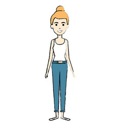 beautiful woman standing avatar character vector image