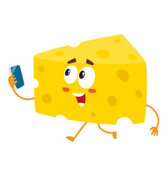 Cute and funny cheese chunk character holding vector