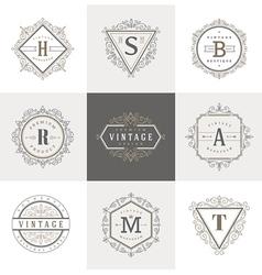 Set of Monogram flourishes logo vector image vector image
