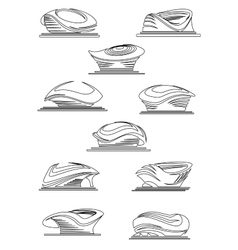 Sports stadium and arena thin line icons vector image vector image
