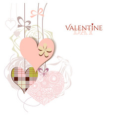 Valentine card cute hanging hearts vector image vector image