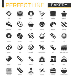 black classic bakery pastry icons set vector image vector image